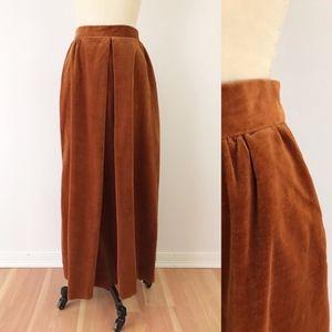 Vintage Rust Velvet Maxi Skirt Pockets 70s C1019